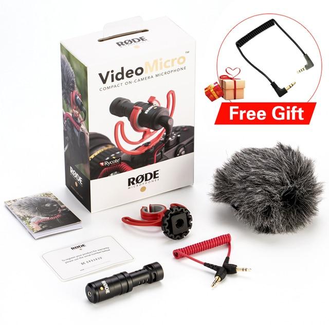Оригинальный Встроенный микрофон Rode VideoMicro, микрофон для записи голоса и интервью для смартфонов Canon, Nikon, Sony