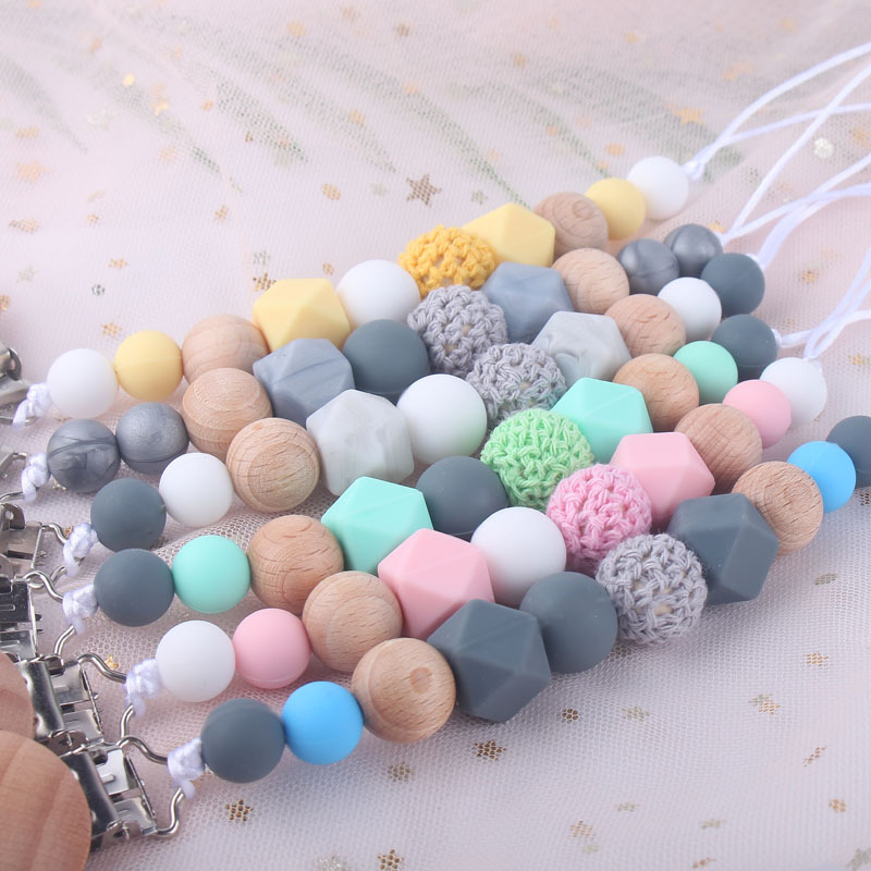 Toy Pacifier-Clip Chew-Beads Shower Gift Baby Silicone Birthday
