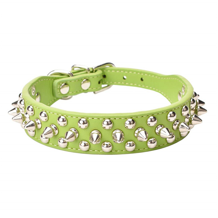 New Style Rivet Pet Collar Bronze Anti-Bite Spike Neck Ring Retro PU Leather Dog Neck Ring Law Bucket Collar