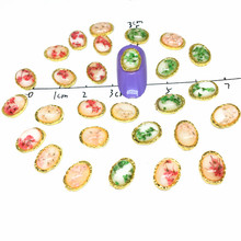 10Pcs Dried Flowers Nail Jewelry Charms Photo Frame 3D Oval Stone nail art flowers for Design UV Diy