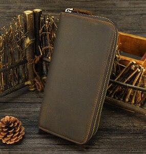 Image 3 - MAHEU Double Zipper Women Men Long Wallet Vintage Leather Male Clutch Purse Man Phone Card Coin 100% Genuine Leather Men Wallet
