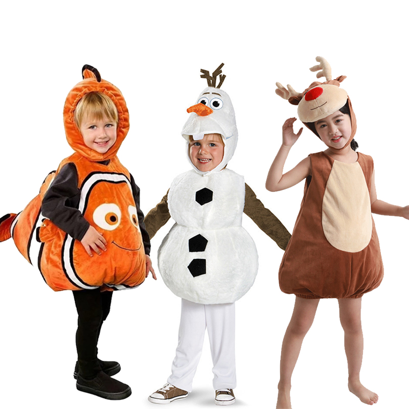Halloween Cosplay Costume Deluxe Adorable Child Clownfish Finding Nemo Little Baby Frozen 1 2 Olaf Age 1-7 Years Elk Pikachu