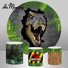 InMemory עגול תפאורות צילום עץ יער בני דינוזאור יורה מסיבת יום הולדת רקעים מעגל תמונה סטודיו