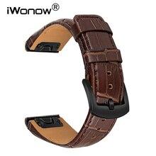 Croco skóra licowa Watchband 26mm szybkie dopasowanie do Garmin Fenix 6X Pro/6X/5X Plus/5X/3 HR/3/Descent MK1 pasek do zegarka