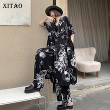XITAO Summer Personality Print Loose Twinset 2021 New Tailored Collar Cardigan Jacket Female Fashion Wide Leg Pants LDD1948