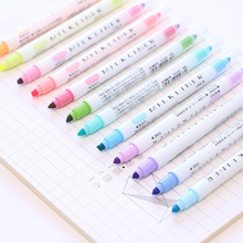 Kawaii Highlighter Marker-Pens Office-Supplies Korean Stationery Writing Dual-Colors