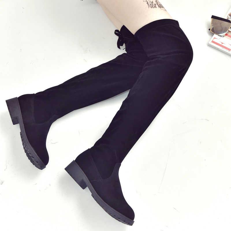 2019 ใหม่เซ็กซี่เข่ารองเท้าบูท Stretch Flock ผู้หญิงฤดูหนาวรองเท้าแบนด้านล่างเพิ่มขึ้นสูง-ต่ำต้นขายืดหยุ่นสูงรองเท้า