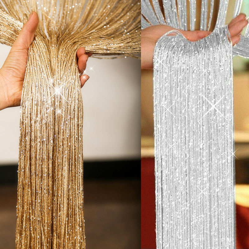 Glitter String Door Curtain Room Dividers Beaded Fly Screen Fringe Window Panel 30DC11