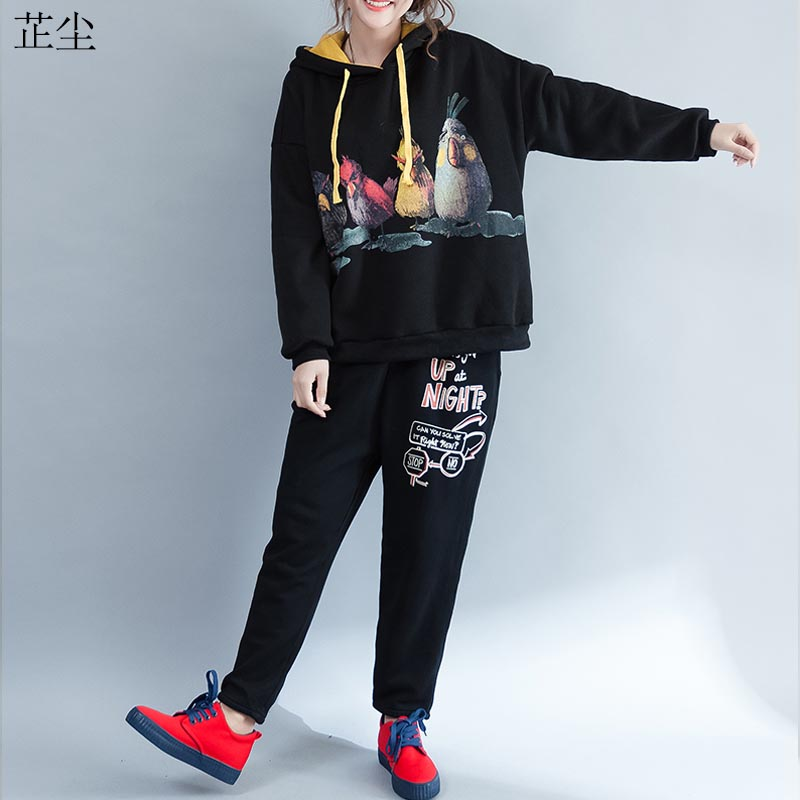 Kawaii Cartoon Printed Oversize Hoodies Sweatshirts Plus Size Autumn Plus Velvet Thicken Cotton Cute Hoodie Harajuku 5XL 2019
