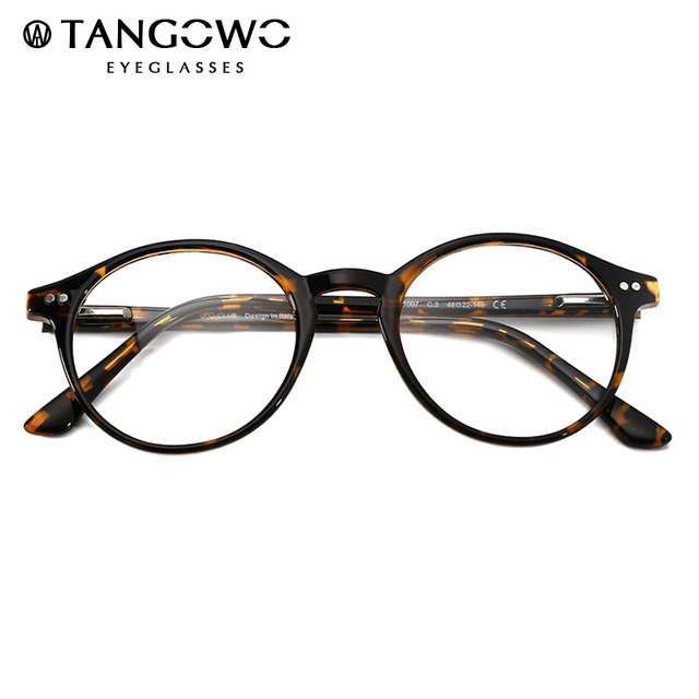 TANGOWO TR90 Glasses Frame Women Retro Round Prescription Eyeglasses 2020 Design Fashion Men Black Optical Myopia Eyewear CP1007