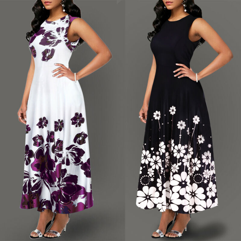 Large Size Elegant Women's Floral Print Long Maxi Dress Evening Party Beach Dress Summer Sleeveless Long Flower Sundress Costume