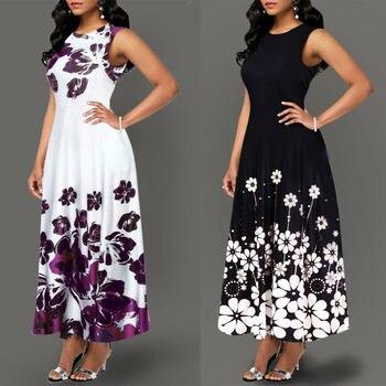 Large Size Elegant Women's Floral Print Long Maxi Dress Evening Party Beach Dress Summer Sleeveless Long Flower Sundress Costume цена 2017