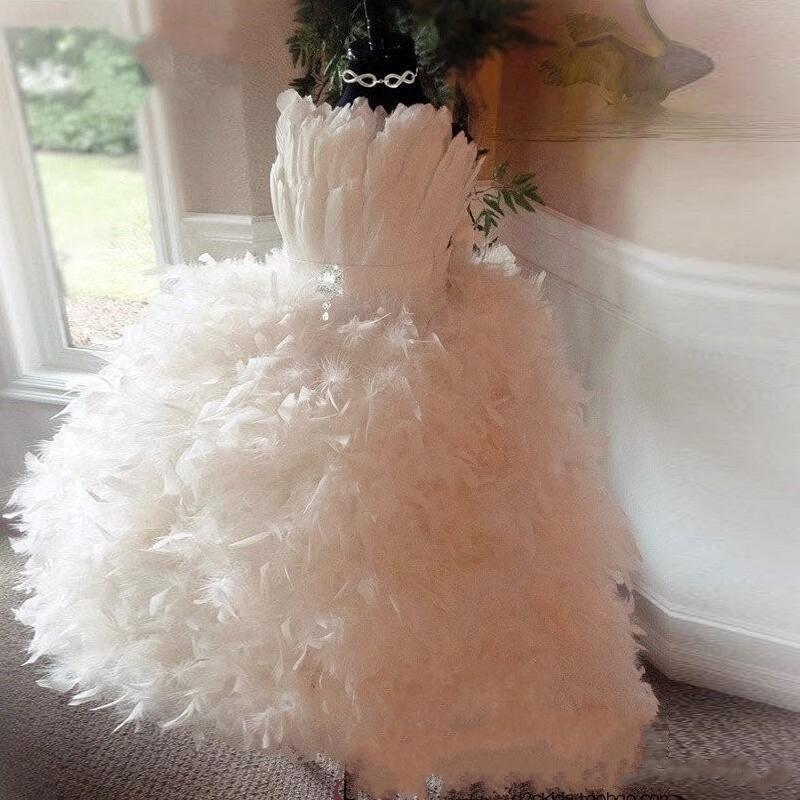 2020 Luxury Feather Flower Girls Dress Pure Christening Baby Dress First Communication Dress Pure White