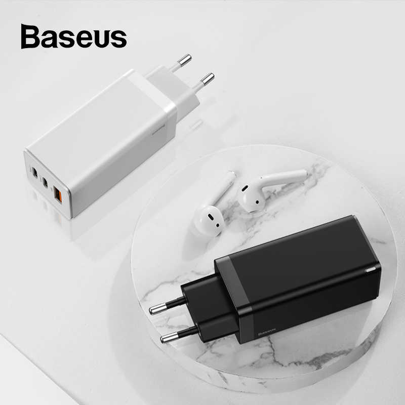 BASEUS GAN Charger 65W Quick Charge 4.0 PD Fast AFC FCP สำหรับ MacBook Pro สำหรับ iPhone 11 X XS Huawei Mate20 Travel Charger
