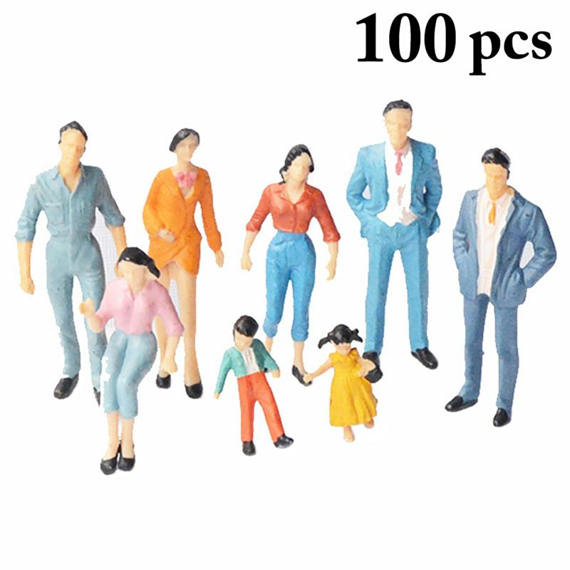 People-Figurines Scenes Miniature Home-Decor Creative for Random-Style 1:50 100PCS title=