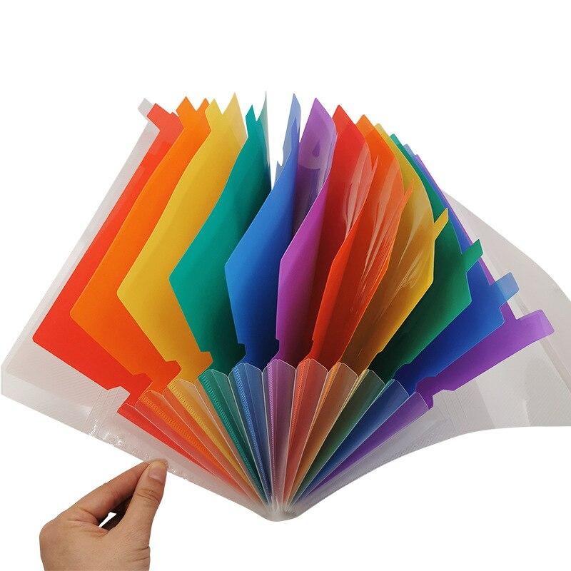 Double Buckle Rainbow Organ Bag Multi-layer Classified File Bag 7/13-grid Organ Bag Carrying Page Folder File Organizer