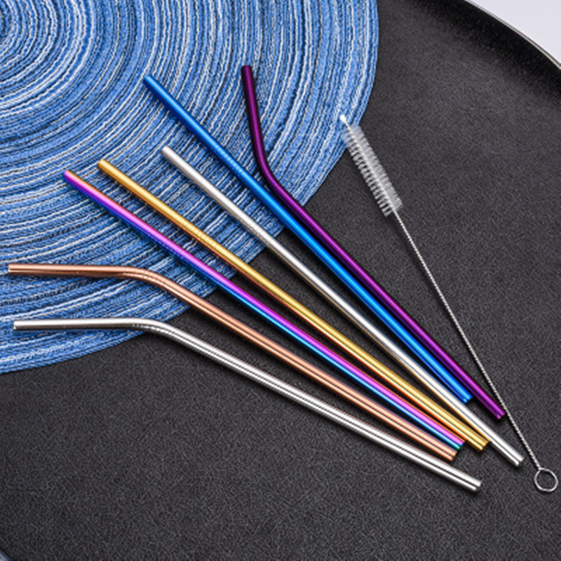 2/4/8Pcs Paille Inox Reusable Drinking Straw High Quality 304 Stainless Steel Metal Straw With Cleaner Brush For Mugs And Bottle