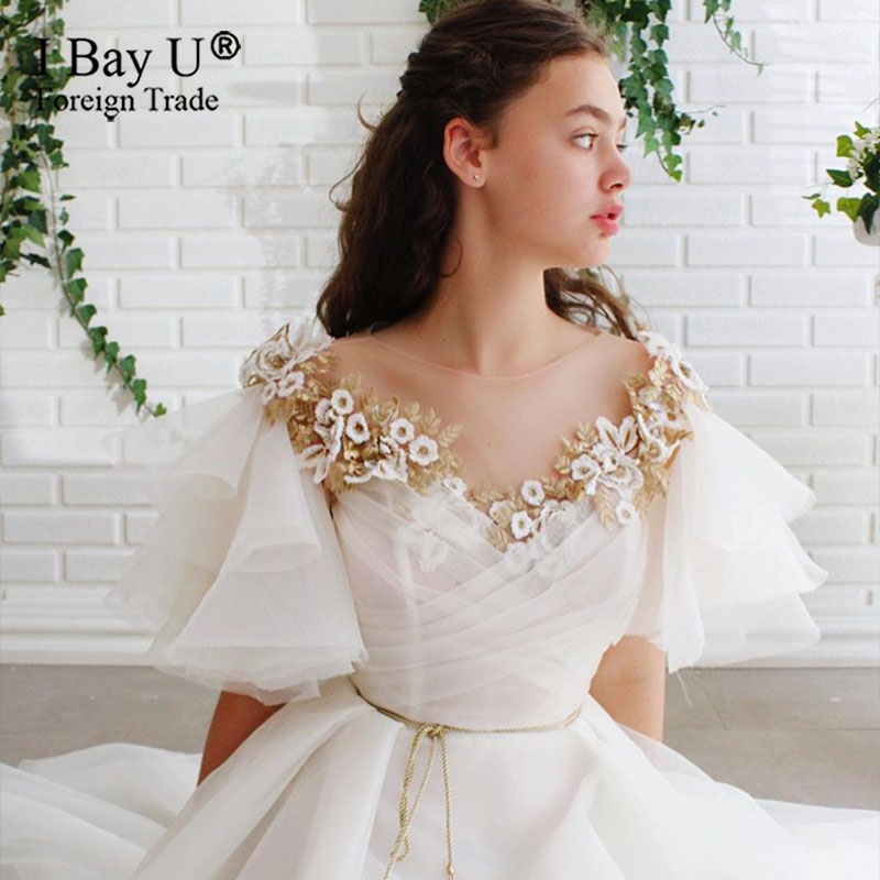 wedding : Golden Beading Wedding Dress Crystal vestidos de noiva Bespoke Wedding Party Gowns