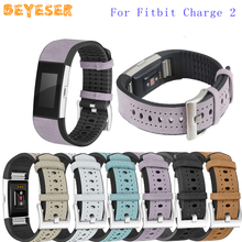New Genuine Leather Wristband For Fitbit Charge 2 Watch Accessories Strap Replacement Band Bracelet