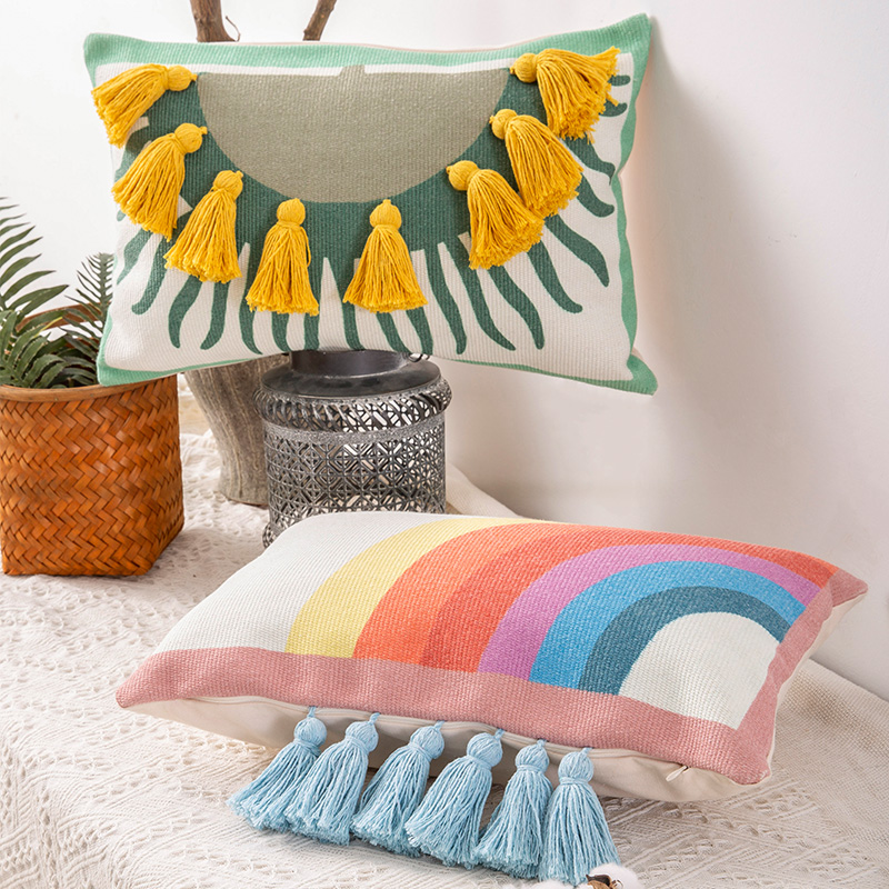 DUNXDECO Cushion Cover Decorative Pillow Case Modern Simple National Style Sun Rainbow Tassel Coussin Sofa Chair Bedding Decor