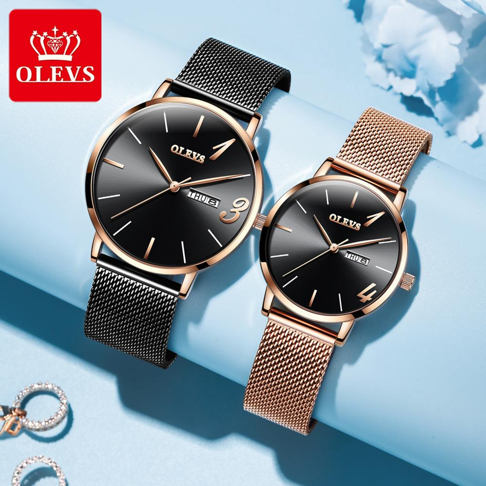 Luxury Couple Watches Pair Man And Woman Fashion Stainless Steel Lovers Wristatches Waterproof Quartz Reloj Mujer Hombre Date
