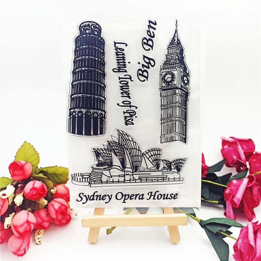 Прозрачный штамп с изображением наклонной башни, 11 х16 см