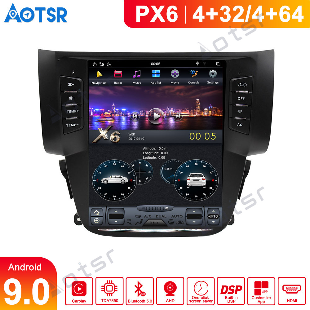 Tesla PX6 Android 9 Car DVD player GPS Navigation For Nissan Sylphy Sentra 2012-2016 Car radio stereo Multimedia player Headunit