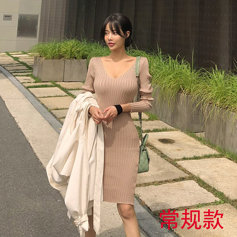 2018 Korean-style Sexy Deep V-neck Solid Color Tight-Fit Sheath Jersey Dress Sweater Dress Women