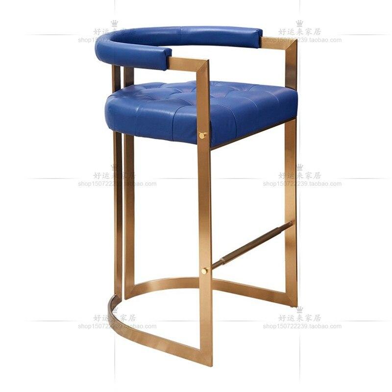 Hong Kong Style Light Luxury Stainless Steel High Stool Bar Chair Hong Kong Style Designer Sales Office Front Desk Metal Bar Sto
