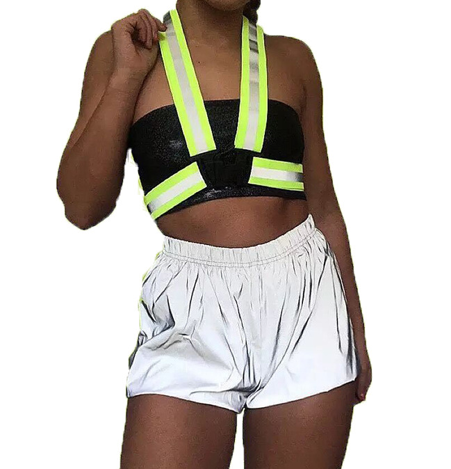Fashuion Women Shorts Sexy Reflective Summer Shorts High Street Elastic High Waist Sport Shorts Running Jogging Short Trouser FS