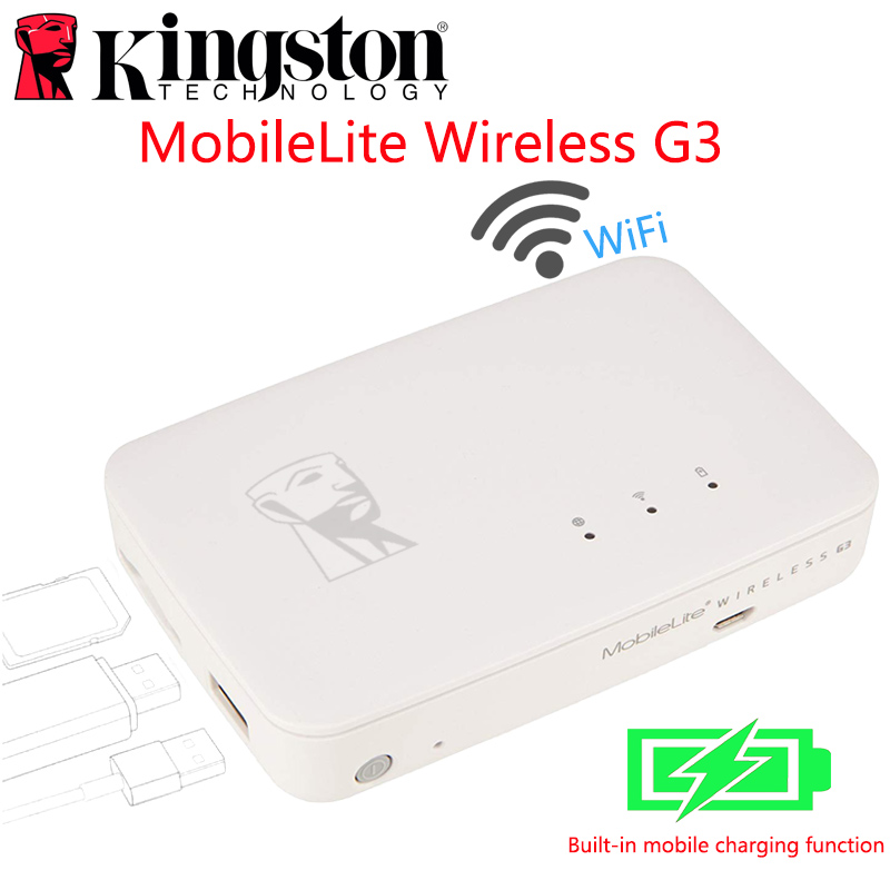 Kingston MobileLite G3 5,400 mAh batterie batterie externe multifonction wifi sans fil MLWG3 pour iPhone, iPad, Samsung Galaxy stockage