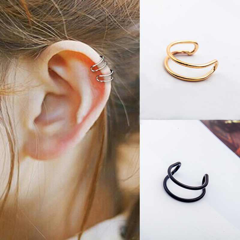1 pair Crystal Cartilage Ear Ring Fake Clip On Earring Cuff Wrap Round Rings