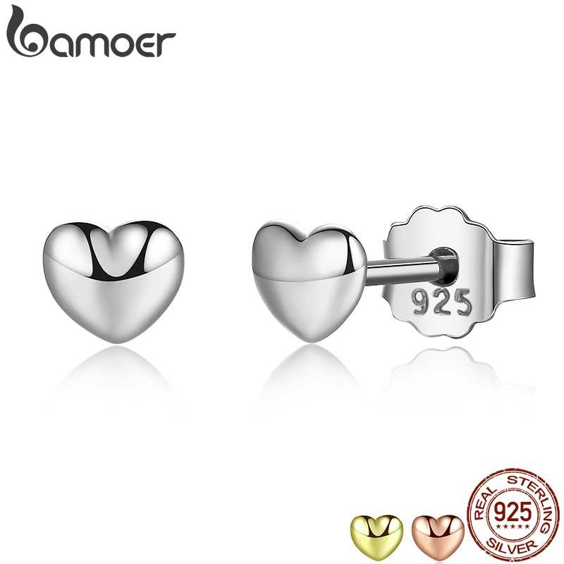 BAMOER 100% 925 Sterling Silver Petite Plain Hearts Stud Earrings for Women Silver Small Earrings Fine Jewelry brincos PAS441
