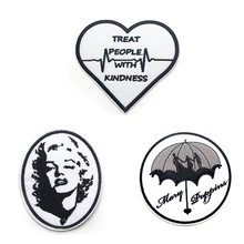 Black and white simple line DIY Embroideried Patches Sew Iron On Clothes Backpack Home patchwork Decoration Sticker Badges E0115