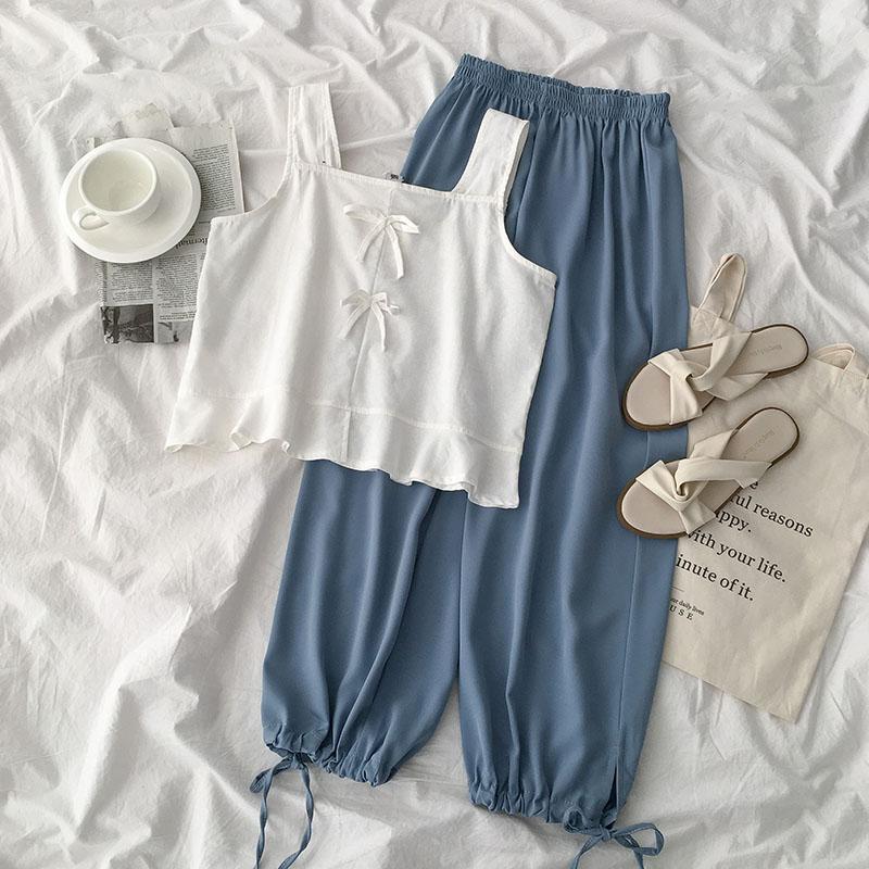 Beach Summer Pant Set Women Two Pieces Set White Sleeveless Tank Tops + High Waist Casual Blue Ankle Length Pant Matching Set