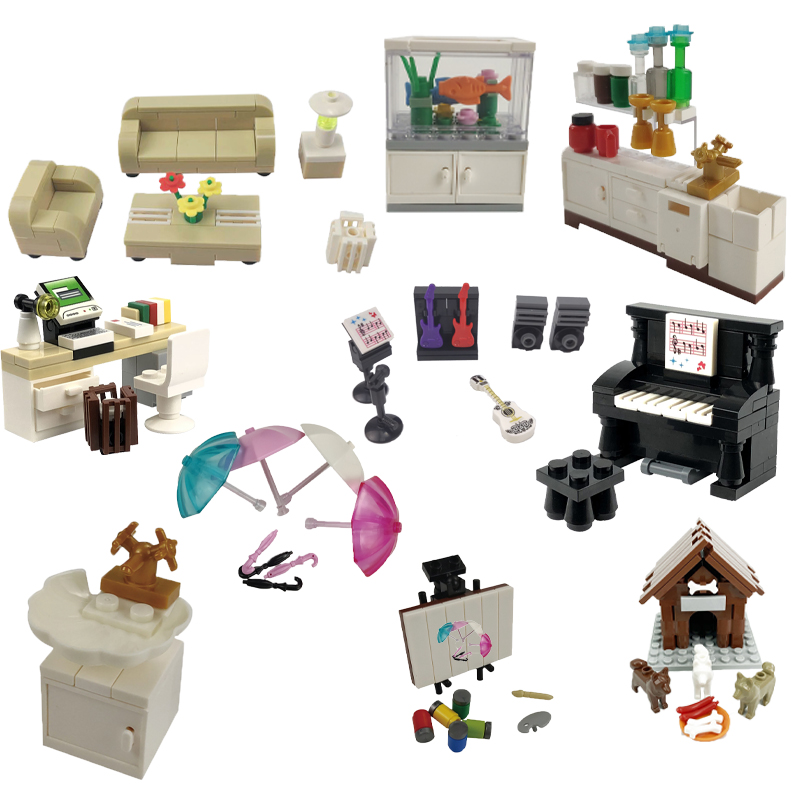 MOC City Draw And Play Leisure Piano Bar Counter Drawing Board Scenes Creators Building Blocks MOC Accessories Parts Toy Friend