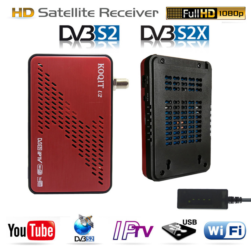 Koqit U2 Satellit Receiv Receptor DVB-S2 DVB-S2X Satellite Tv Receiver IPTV Wifi Finder DVB S2 Decoder Scam /iks Biss VU Youtube