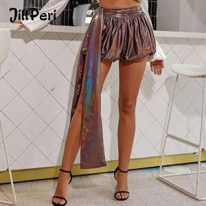 Image 1 - Женские штаны фонарики JillPeri, повседневные шорты кофейного цвета металлик, вечерние короткие брюки для отпуска и клуба