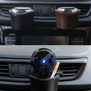 Image 3 - منفضة سجائر محمولة للسيارات والشاحنات ، حامل سجائر مع ضوء LED أزرق ، بدون دخان ، منفذ هواء مثبت