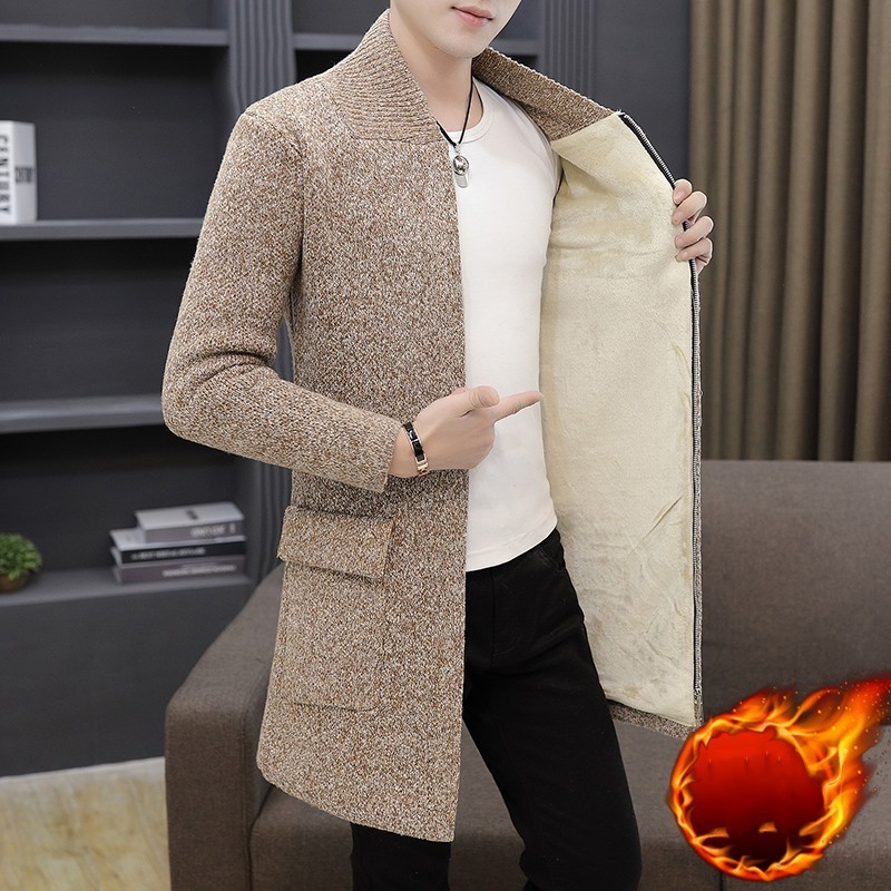 Mens Winter Thick Fleece Liner Mens Knintting Cardigan Casual Long Sleeve Zipper Pockets Male Medium Length Outerwear Plus Size