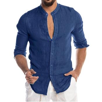 Men's New Summer Casual Cotton Linen Long Sleeve Button Down Shirt For Man Casual Shirts Cotton Shirts Dress Shirts Long Sleeve Men Print Shirts Shirts & Tops Slim Fit Summer Shirts T-Shirts Color: Blue Size: European Size M