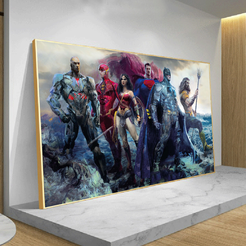 Justice League Superhero Movie Posters and Prints Canvas Art Painting On Wall Picture For Living Room Home Decoration