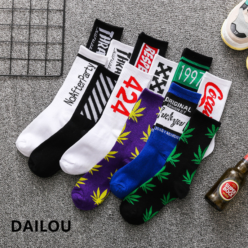 1 Pair Colorful Men's Socks Funny European  Maple Leaf Hip-hop In Tube Socks Cotton Personalized Sports  Basketball Socks Women