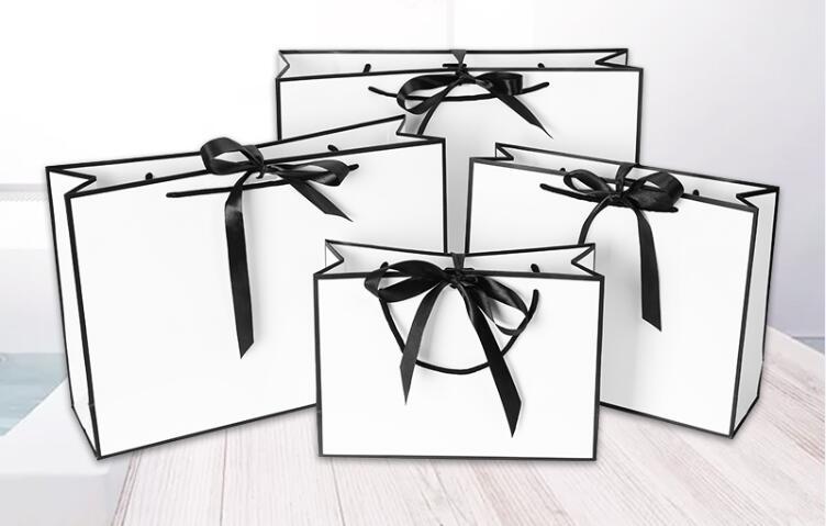 10pcs Large White Kraft Paper Packaging Bag,garment Gift Paper Bag With Handles,small Black Paper Shopping Bag