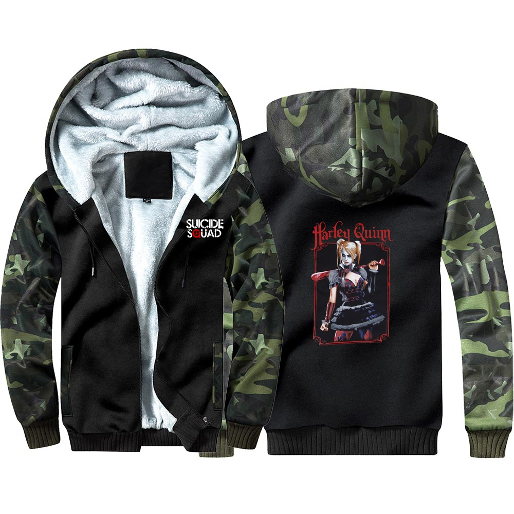 New Suicide Squad Harley Quinn Hoodie Sweatshirts Winter Thicken Hooded The Joker Coat Cosplay Warm Men Clothing