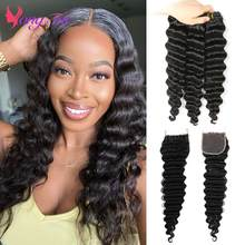 YuYongtai Deep Wave Malaysian Human Hair Deep Wave Hair Bundles With Closure Non-Remy Human Hair Weaves 3 Bundles With Closure
