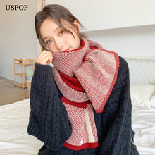 USPOP 2019 New plaid scarf women thick warm winter scarves female soft knitted long plaid shawl
