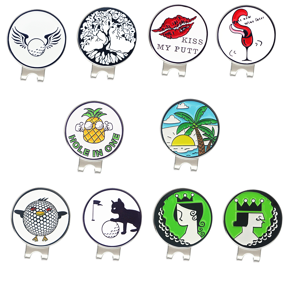 PINMEI Golf Ball Mark Hat Clips None Magnet Golf Markers With Cap Clips Pack Of 2 Accessories Gift Sets For Lady/Children Golfer