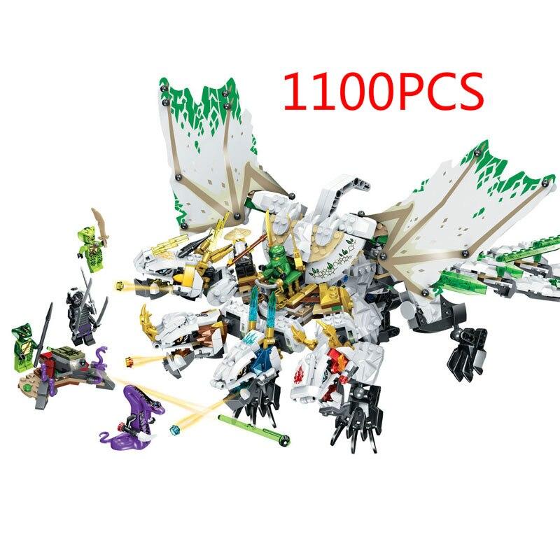 1100 шт. ниндзя с бесплатной доставкой ультра дракон, строительные блоки маленького размера идущие 70679 Ninjagoes Дракон Кирпичи игрушки для Детски...