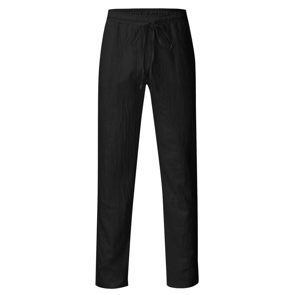Hd402f2e6f8ac49a18ccfb6854623ebb87 Feitong Fashion Cotton Linen Pants Men Casual Work Solid White Elastic Waist Streetwear Long Pants Trousers